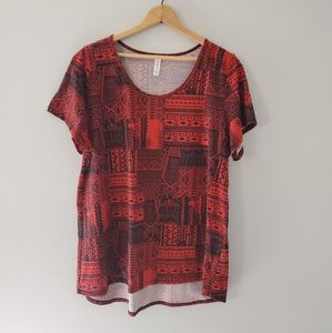 Lularoe Red Tribal Print Tunic Top